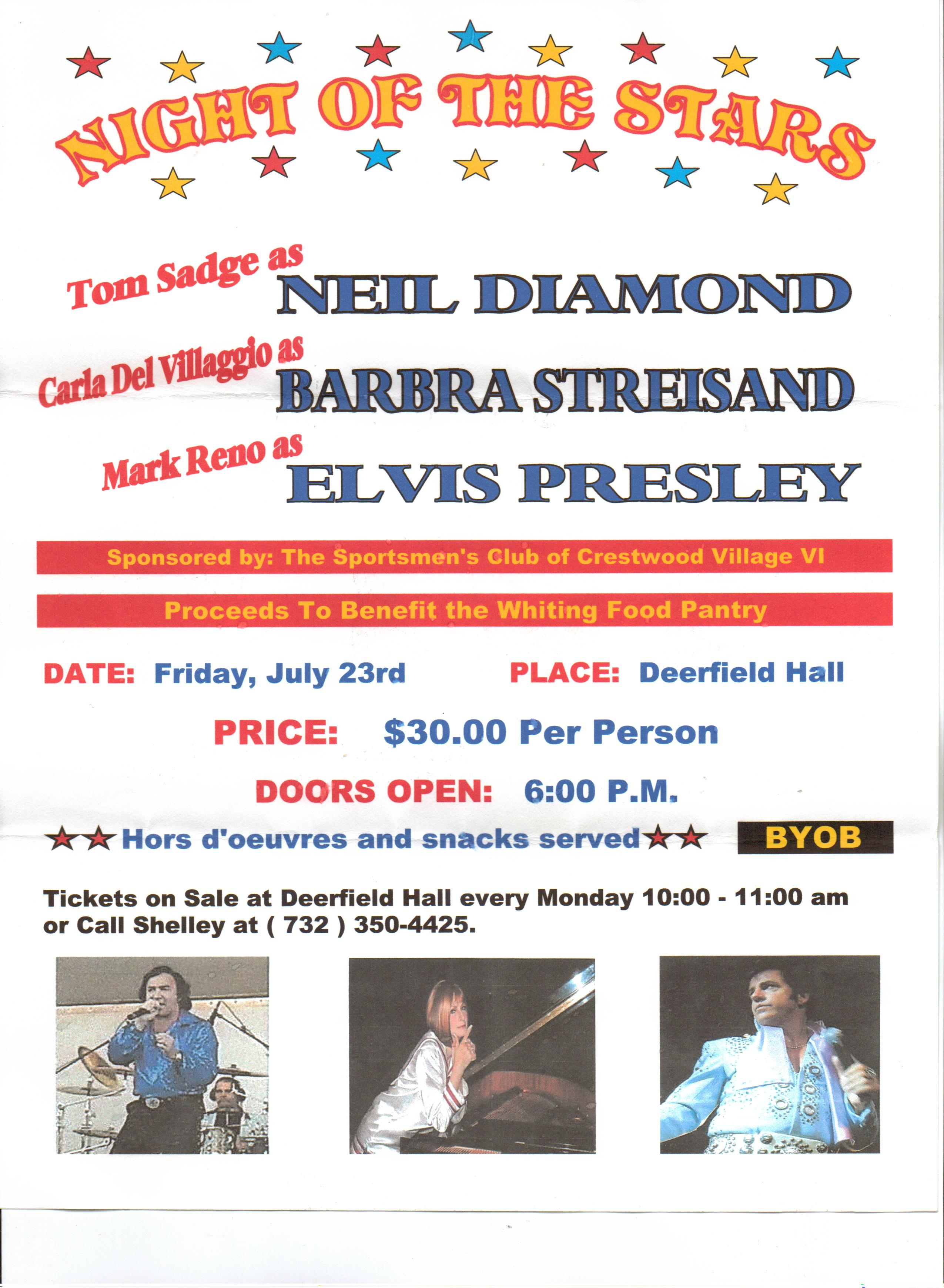 Neil Diamond impersonator Tom Sadge - public appearance.
